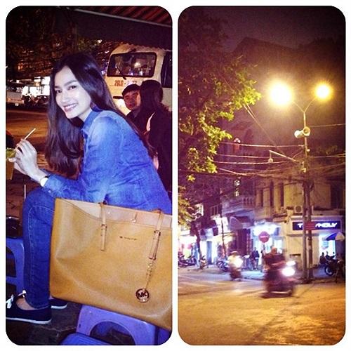 Trúc Diễm khoe ảnh xinh đẹp trên đường phố Hà Nội.