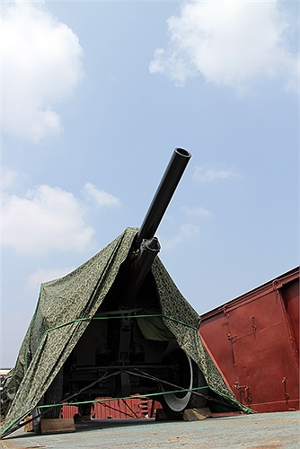 Khẩu pháo lựu 150 được kéo theo Linh xa khi tham gia phục vụ Quốc tang Đại tướng Võ Nguyên Giáp.