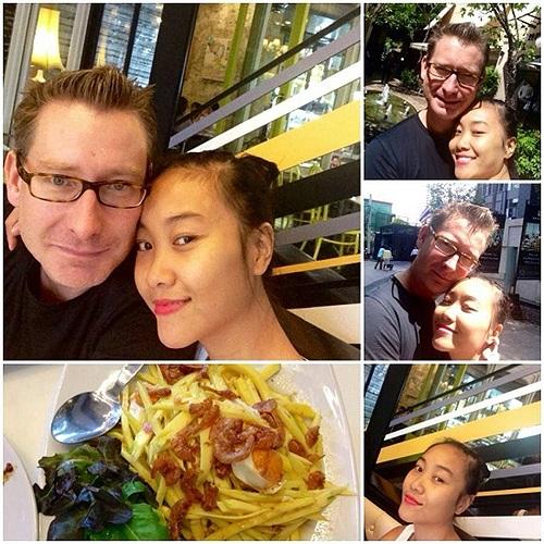 Đoan Trang hạnh phúc bên ông xã.