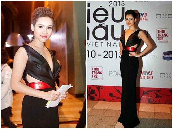 Giữ vai trò MC trong đêm chung kết cuộc thi Siêu mẫu Việt Nam 2013, Hoàng My tạo ấn tượng với trang phục cắt xẻ táo bạo tại phần ngực áo, thiết kế chất liệu da mạnh mẽ.