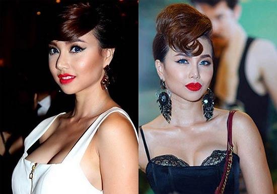 Cô cũng thường xuyên sử dụng kính áp tròng không phù hợp với màu mắt của người Việt và tổng thể gương mặt được trang điểm cầu kỳ.