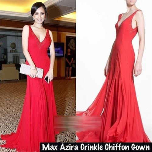 Chiếc đầm đỏ khoét ngực sâu và lưng này của nhãn hiệu Max Azria.