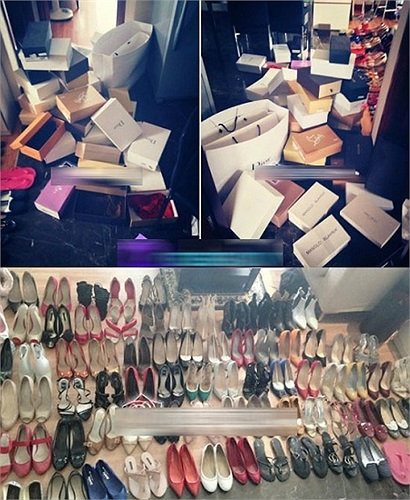 Giày: BST giày của Mai Phương Thuý nhiều như một cửa hàng giày với đầy đủ các thương hiệu nổi tiếng và đắt tiền.