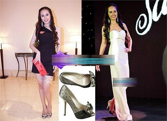 Mai Phương Thúy cũng sở hữu giày đôi giày bọc ren đính nơ Christian Dior với giá 981 USD (20 triệu đồng).