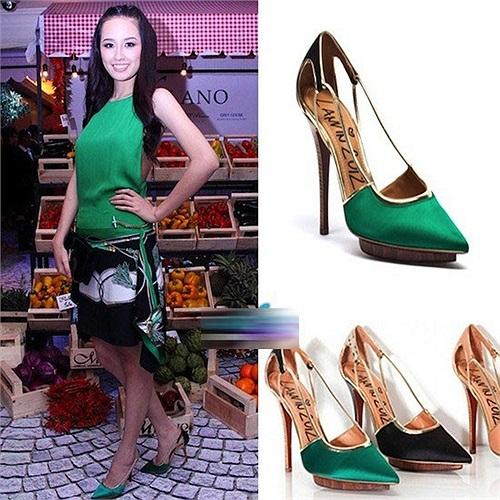 Đôi giày Lanvin dòng STILETTO DORSAY PUMPS màu xanh có giá 675 Euro (19 triệu đồng).