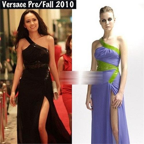 Sang trọng với chiếc váy hiệu Versace.