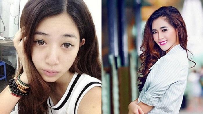 Hà Min may mắn sở hữu chiều cao vượt trội nhưng với gương mặt mộc, cô để lộ nhiều khuyết điểm: da sần sùi, mắt thiếu sức sống... Hình ảnh cho thấy sức mạnh của make up đã biến một cô gái bình thường trở nên xinh đẹp vượt trội.