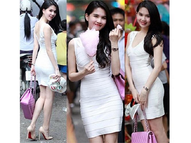 Cô từng diện những chiếc váy cotton băng quấn và làm nên trào lưu cho giới trẻ Việt.