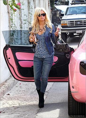 Chiếc xe được nhuộm hồng từ trong ra ngoài theo đúng sở thích của người đẹp giàu có này.