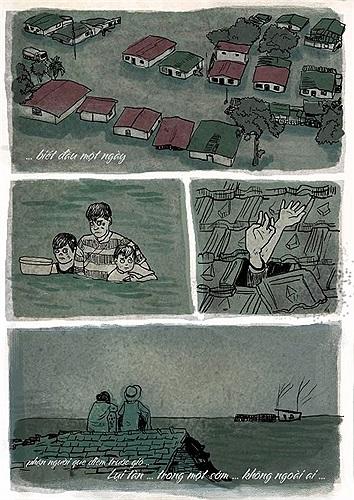 Đăng những hình ảnh xúc động này, Thăng Fly muốn kêu gọi mọi người cùng giúp đỡ cho miền Trung đang chịu hậu quả của bão lũ