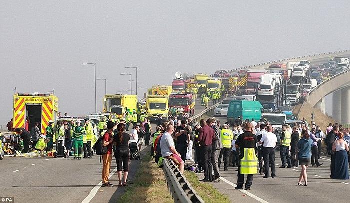 Vụ tai nạn đã gây ùn tắc đoạn đường trong nhiều giờ liền