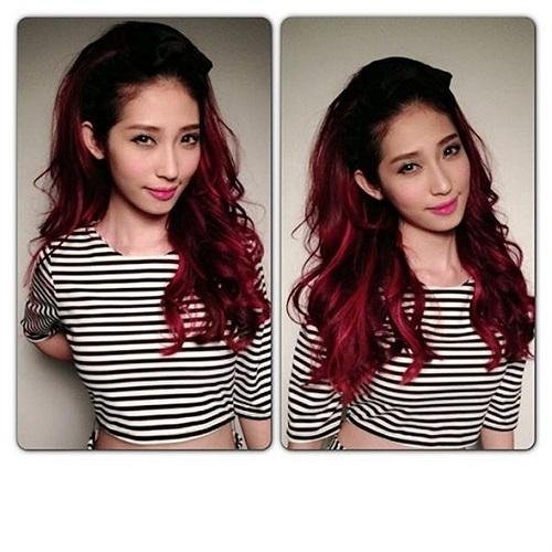 Khổng Tú Quỳnh khoe mái tóc đỏ rực.