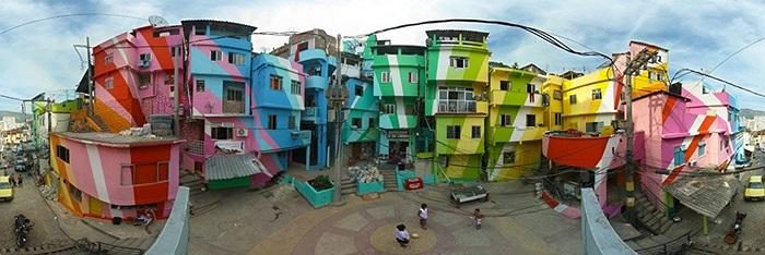 Góc nhìn 360 độ của bức tranh đường phố Santa Marta Favela ở Rio De Janeiro, Brazil