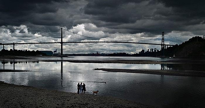 Người dân dắt chó đi dạo dọc bờ biển ở West Vancouver, British Columbia, Canada