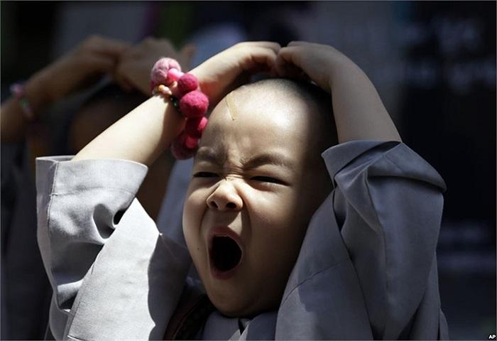 Cậu bé Hàn Quốc ngáp ngon lành trước khi bắt đầu 3 tuần sống trong chùa ở Seoul