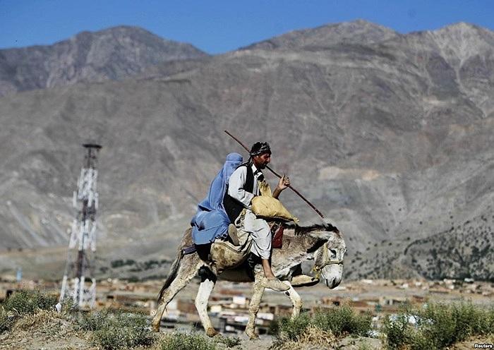Cặp vợ chồng cưỡi con lừa đi dọc ngoại ô ở tỉnh Parwan, Afghanistan