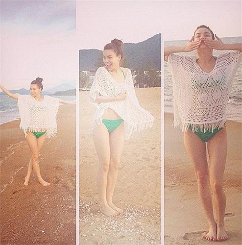 Hồ Ngọc Hà đang có chuyến đi nghỉ cùng Cường Đô la, cô chia sẻ một bức hình mặc bikini ngoài bãi biển rất dễ thương.