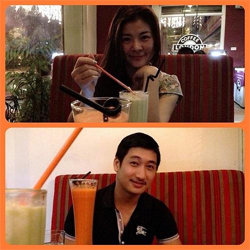 Diễn viên Kim Oanh cafe cùng bạn bè.