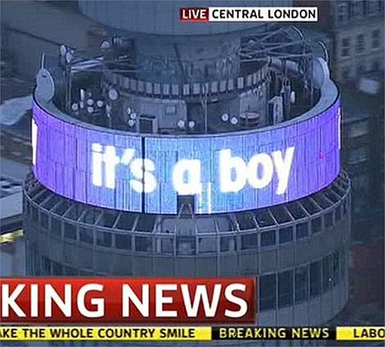 Thông tin được đăng tải đặc biệt trên đỉnh tháp BT ở Fitzrovia, trung tâm London