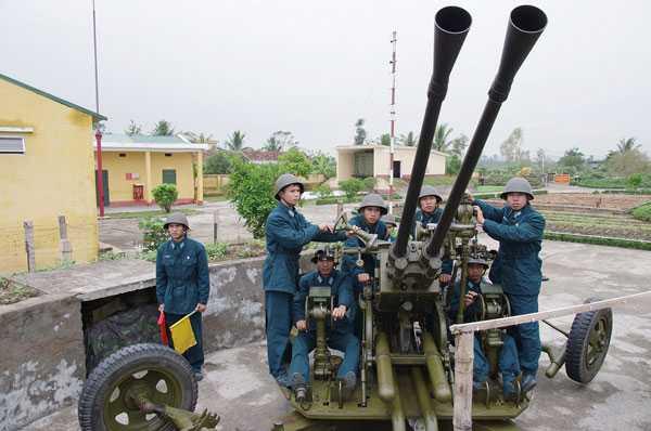 pháo thủ cao xạ, luyện tập, cơ động, đại đội 171, chiến sĩ