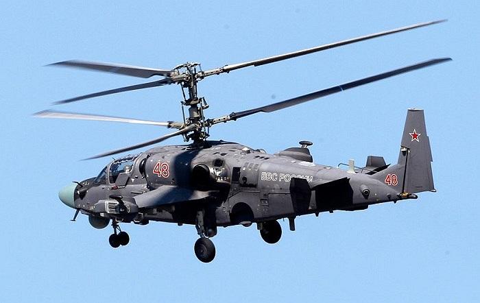 Trực thăng vũ trang Ka-52 của quân đội Nga tại triển lãm hàng không MAKS 2013, ở ngoại ô Matxcơva