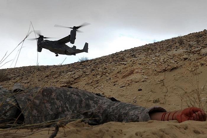Máy bay đa năng CV-22 Osprey của Mỹ tham gia diễn tập cứu hộ ở Doha, Qatar