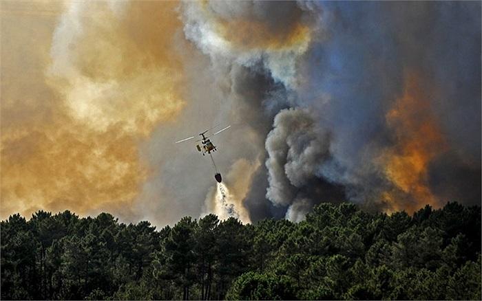 Máy bay trực thăng thả nước dập lửa trong đám cháy rừng ở Seizures, gần Penalva do Castelo,Bồ Đào Nha