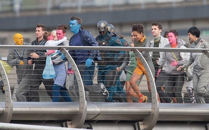 Cảnh quay bổ sung cho bộ phim 'Guardians of the Galaxy' trên cầu Thiên Niên Kỷ, London, Anh