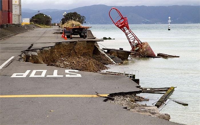 Một góc sạt lở sau trận động đất ở Wellington, New Zealand