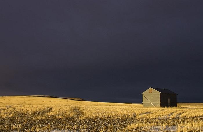 Ngôi nhà nhỏ cô đơn trước cơn bão ở Montana, Mỹ