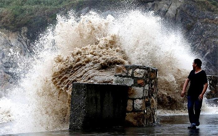 Người đàn ông nhìn con sóng dâng cao do ảnh hưởng của bão Trami ở Ôn Lĩnh, tỉnh Chiết Giang, Trung Quốc
