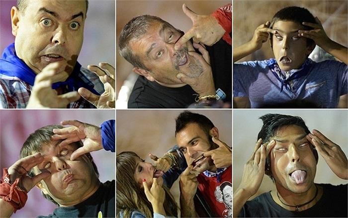 Bức ảnh ghép những bức mặt làm xấu trong lễ hội Nagusta Fiesta ở Bilbao, Tây Ban Nha