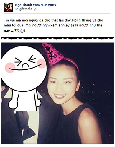 Ngô Thanh Vân cũng tặng fan hâm mộ một quả lừa: Tin vui mà mọi người đã chờ thật lâu đây. Mong tháng 11 mau tới quá, mọi người nghĩ xem anh ấy là người như thế nào?