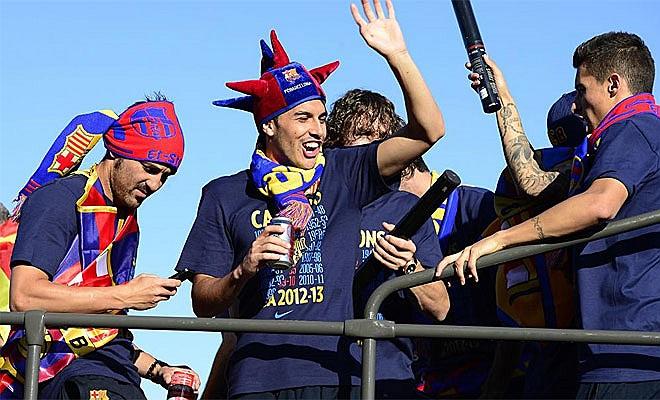 Niềm vui khôn tả của các cầu thủ Barca.