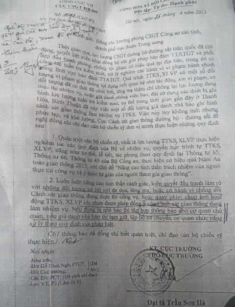 Văn bản 1042/C67 - P3 ngày 26/4 của Cục CSGT do Đại tá Trần Sơn Hà ký.