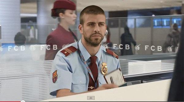 Pique là nhân viên an ninh sân bay