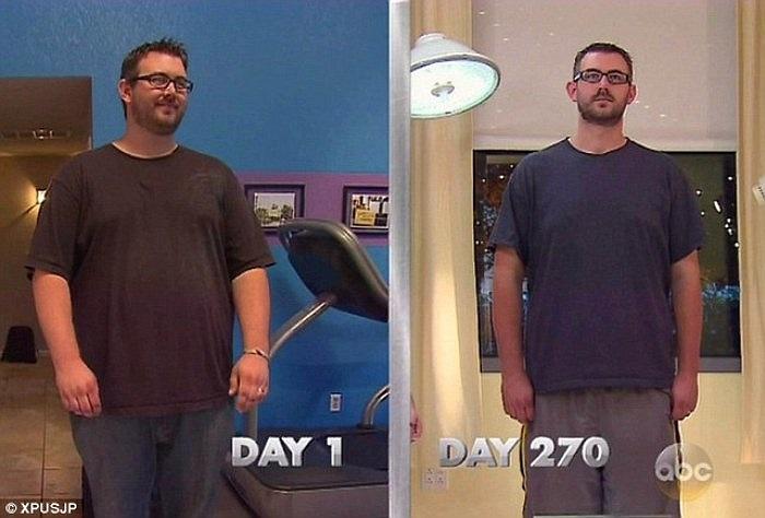 Kết quả là sau một thời gian kiên nhẫn luyện tập, anh Jason cũng đã giảm đến hơn 76 ký, từ 178 ký xuống còn 102 ký.