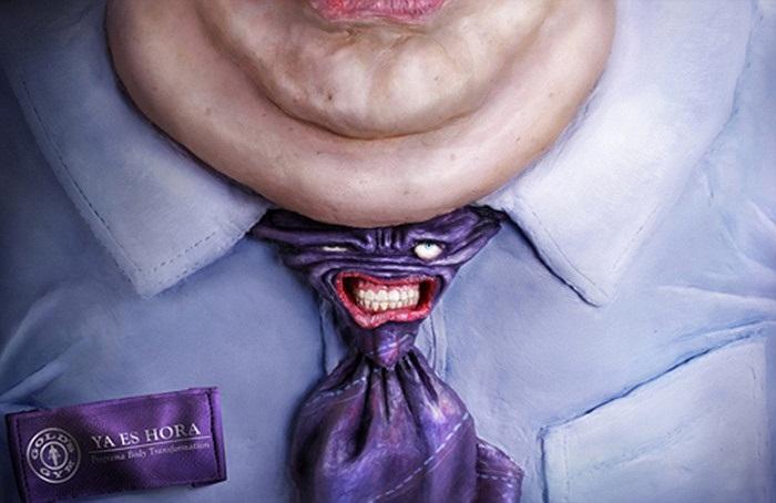 Tiếp tục là một quảng cáo của phòng tập Gold, Costa Rica mà đã giành giải thưởng Cannes. Dường như chiếc cà vạt đang bị o ép hết sức tàn nhẫn.