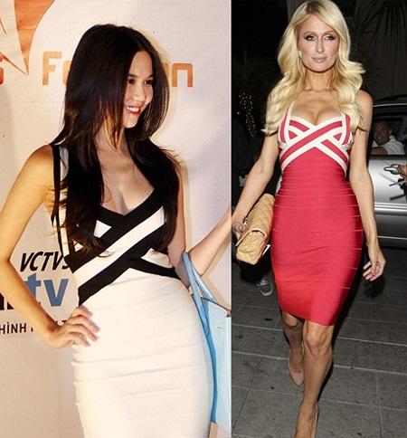 Chiếc váy băng Herve Leger mà Ngọc Trinh từng mặc cũng là trang phục ưa thích của Paris Hilton.