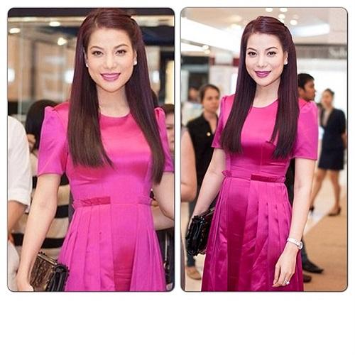 Trương Ngọc Ánh váy hồng dịu dàng.