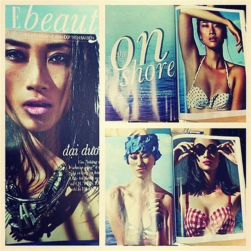 Khiếu Huyền Trang khoe ảnh mới nhất trên tạp chí của cô.
