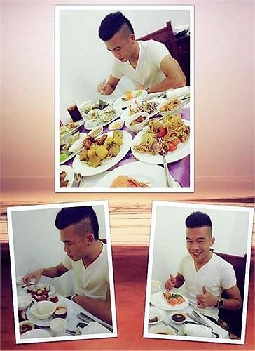 Trong khi đó, tiền vệ Ngô Hoàng Thịnh khoe 'chế độ ăn kiêng' của mình trên facebook cá nhân.