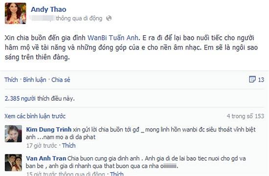 Thanh Thảo tin rằng Wanbi Tuấn Anh sẽ là ngôi sao sáng trên thiên đàng.