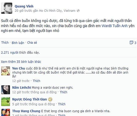Quang Vinh mất cả đêm không ngủ được vì hiểu được cảm giác mất mát người thân khi Wanbi Tuấn Anh ra đi.
