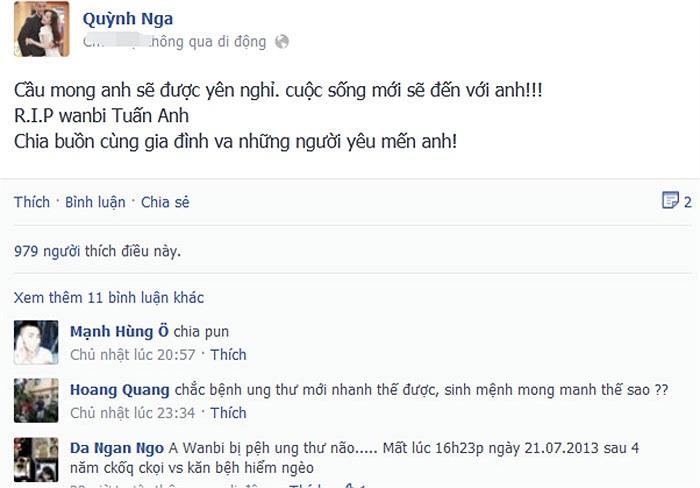 Quỳnh Nga gửi lời chia buồn đến gia đình chàng ca sỹ 'Đôi mắt'.