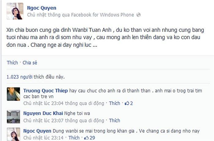 Ngọc Quyên cầu mong Wanbi Tuấn Anh sớm lên thiên đàng.
