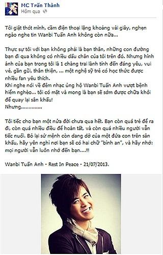 MC Trấn Thành giật thót mình, lặng đi vài giây khi nghe tin Wanbi Tuấn Anh qua đời.