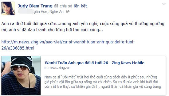 Miss Teen Diễm Trang ngưỡng mộ Wanbi Tuấn Anh vì đã đấu tranh đến hơi thở cuối cùng.