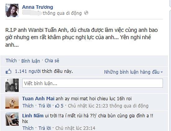 Anna Trương dù chưa làm việc cùng Wanbi Tuấn Anh bao giờ nhưng rất khâm phục nghị lực của chàng trai 26 tuổi.