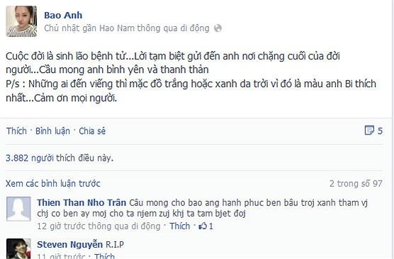 Bảo Anh gửi lời tạm biệt đến Wanbi Tuấn Anh khi chàng trai chút hơi thở cuối cùng.